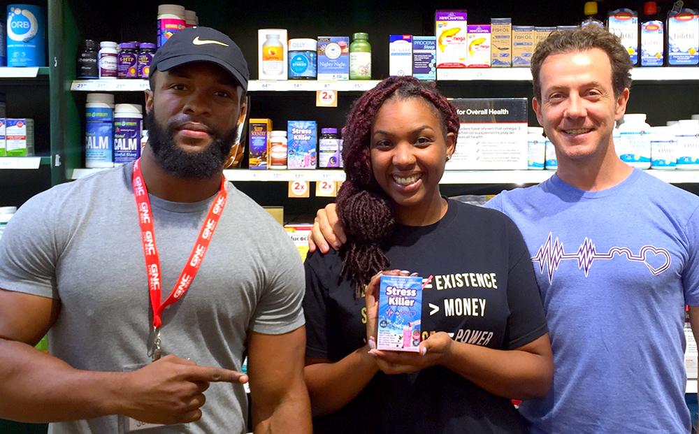 Stress Killer founder visits a Durham, N.C., GNC store