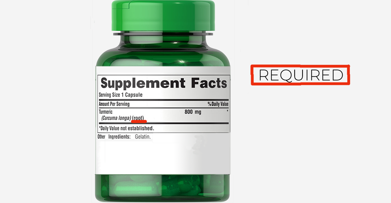 Supplement facts panels must identify the part of the plant from which herbal ingredients came.