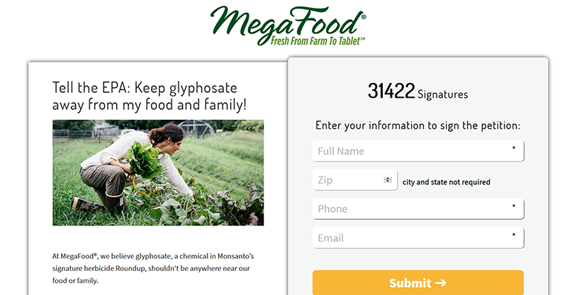 MegaFood petition for EPA to ban glyphosate on oats