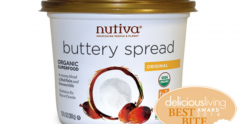 Nutiva Organic Buttery SpreadUnlike most nondairy butters Nutivas USDA Organic NonGMO Project Verified spread contains coconut oil and responsibly sourced red palm oilsno soy canola or dairy Use exactly like buttereven in cookies Finalists Earth Balance Organic Whipped Natural Buttery Spread Spectrum Organic Butter Flavor Shortening