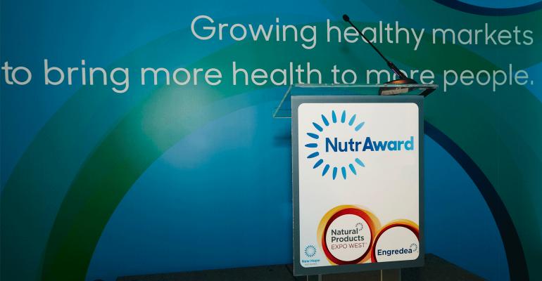 NutrAward podium at Expo West