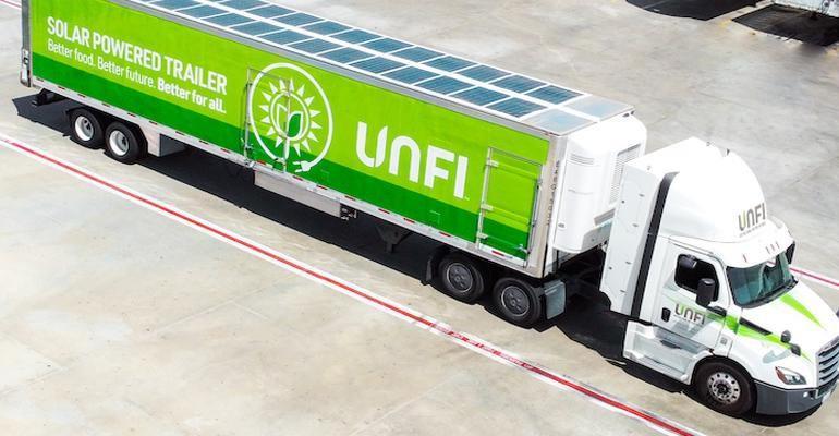 UNFI electric truck trailer