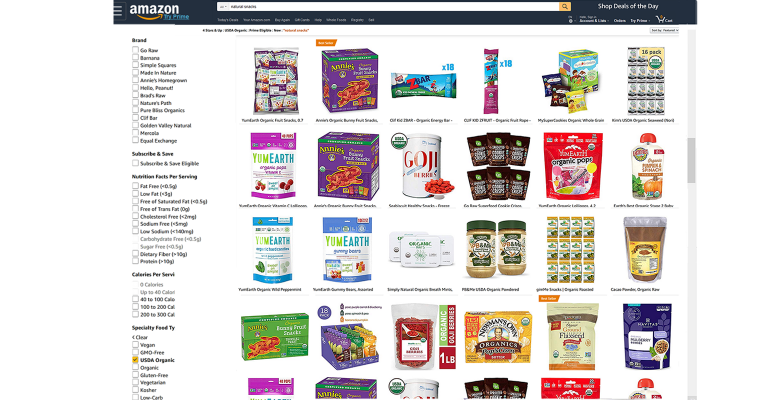 Amazon natural foods illustrated screenshot