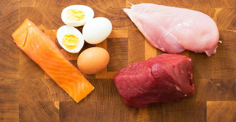 Salmon, beef, eggs