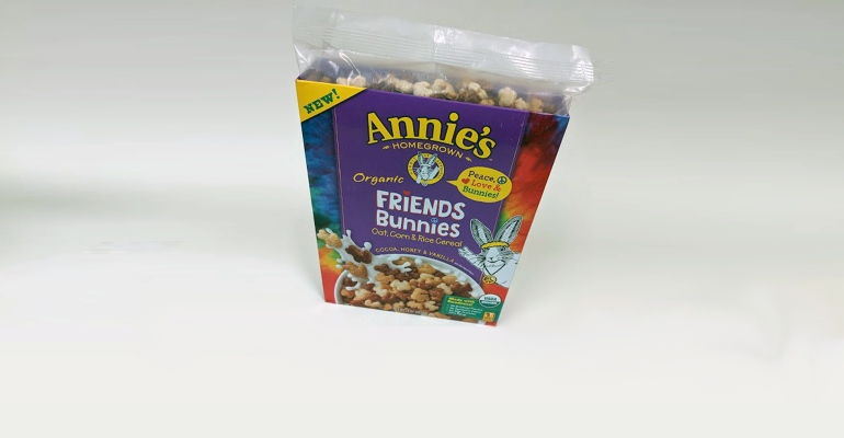Annie's cereal box with recycled plastic