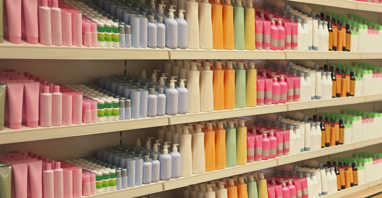 Bath products on shelves