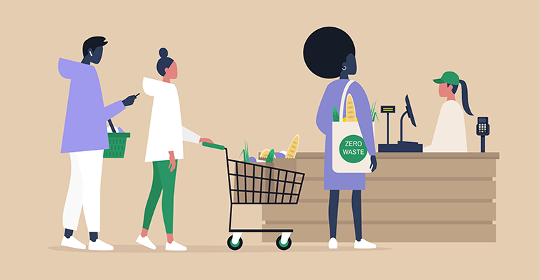 black shoppers grocery store checkout illustration