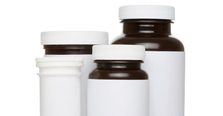 Pill bottles with blank labels