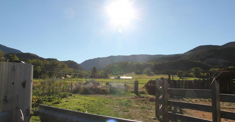 Carbondale biodynamic farm with fence and sun