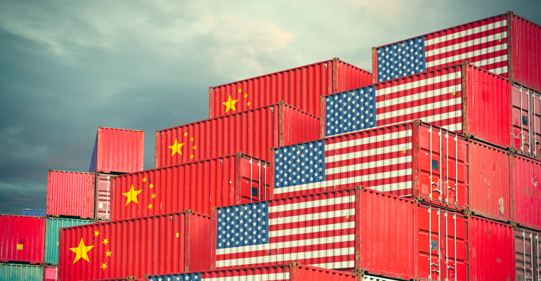 Chinese and American shipping containers