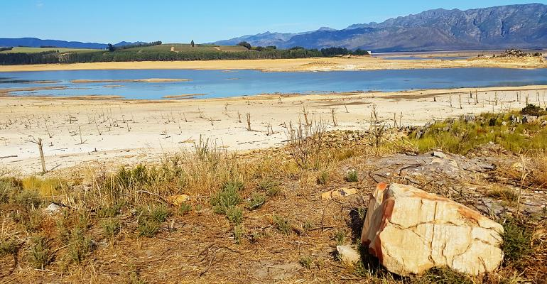 Drought at Theewaterskloof Dam in Cape Town, South Africa