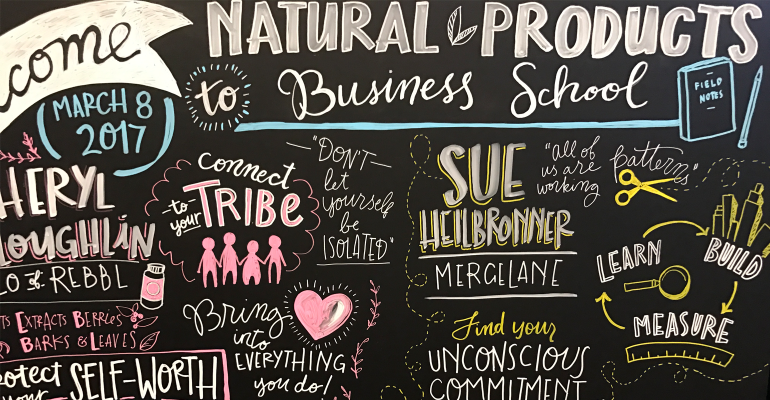 Natural Products Business School at Expo West 2017 live illustration by Annie Herzig