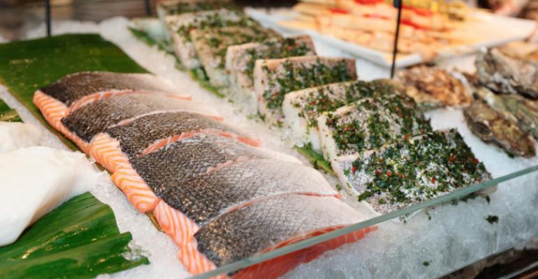 salmon at fish counter