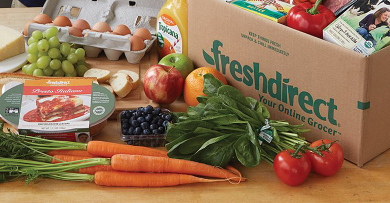 FreshDirect delivery box with contents