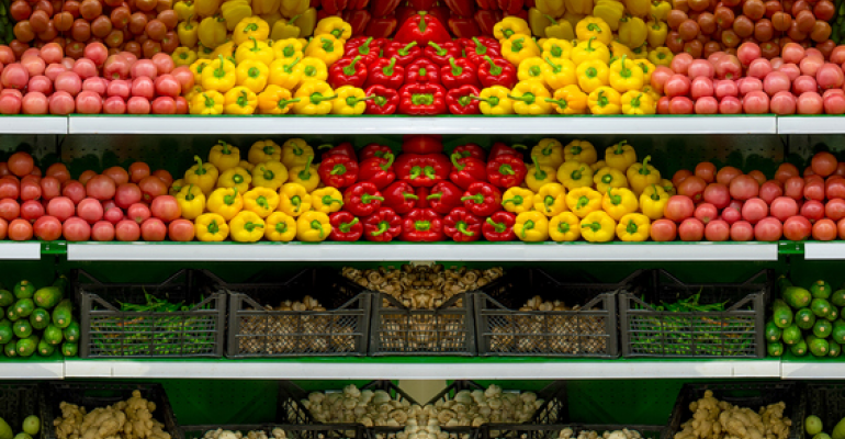 peppers and produce on grocery shelf