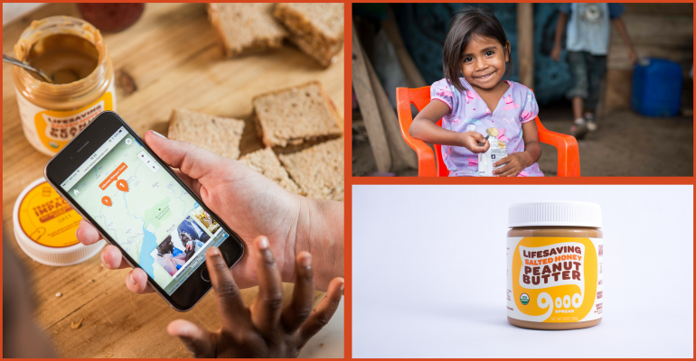 Young girl eating vitamin-fortified peanut butter