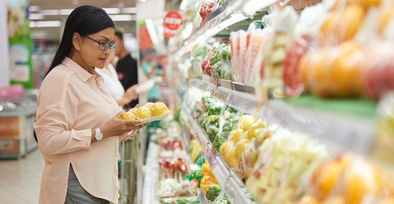 grocery shopper checking out