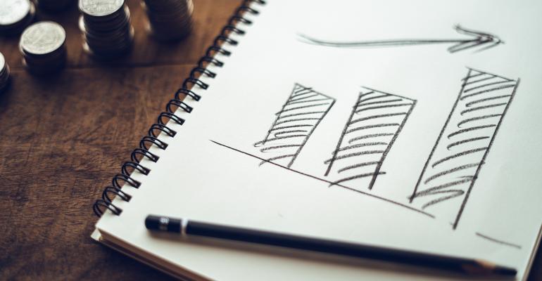 Bar graph drawn on paper