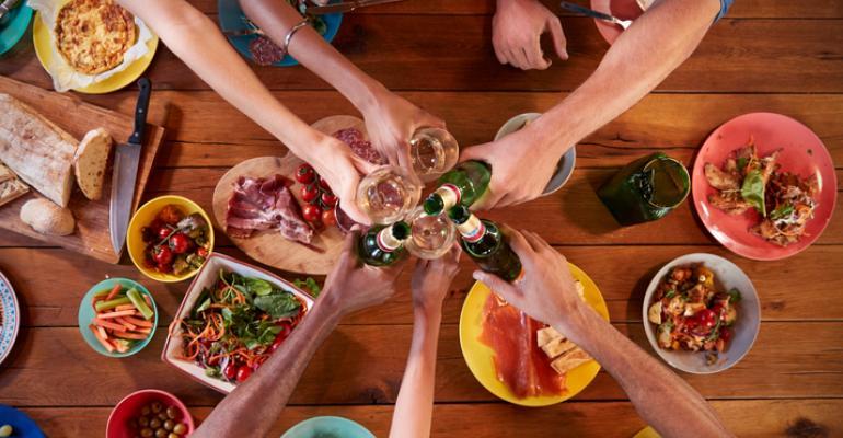 millennials sharing a meal