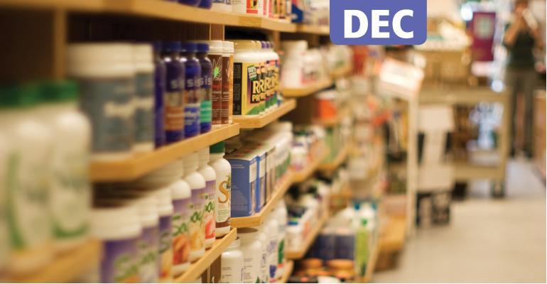 Supplement bottles on shelves