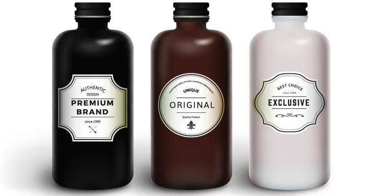 three generic bottles with vintage labels