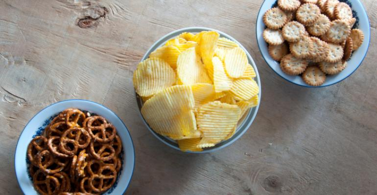 Snacks, chips, pretzels