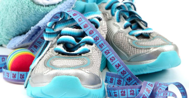 Sports nutrition tennis shoes, towel and tape measure