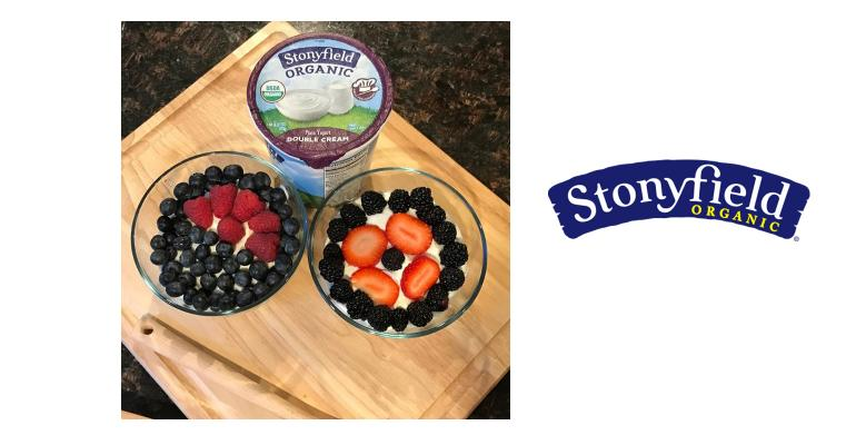 Stonyfield Yogurt with berry bowls