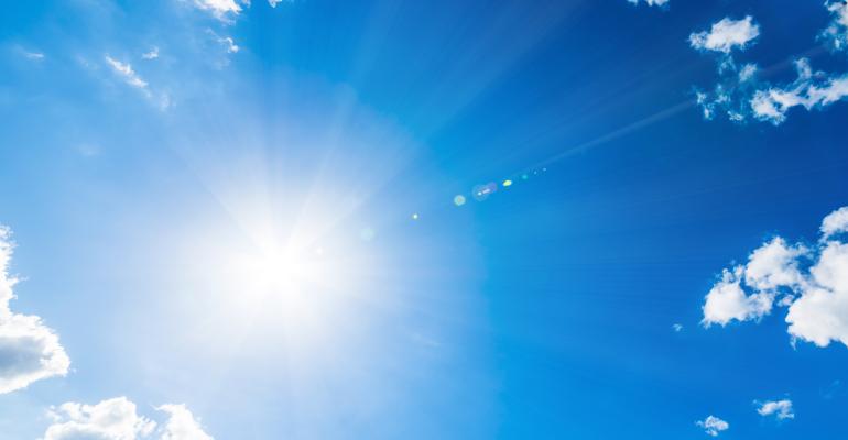 Sun shining in the sky