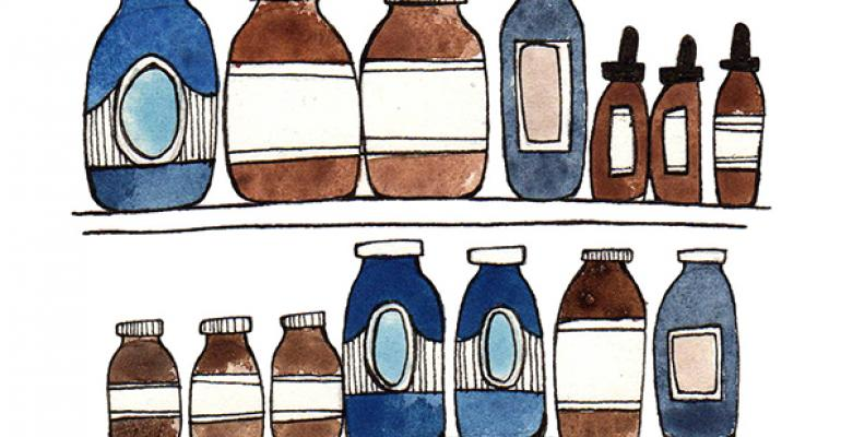 supplement bottles drawing