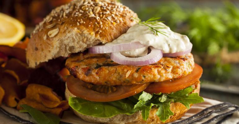 Fake meat salmon burger Terramino Foods