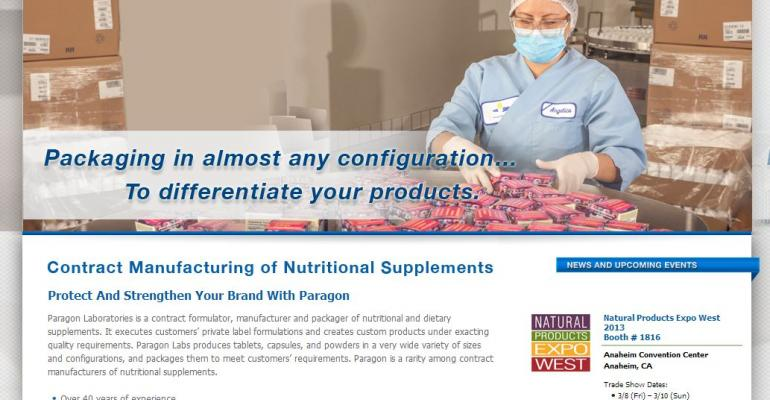 Paragon Laboratories redesigns website for supplement marketers
