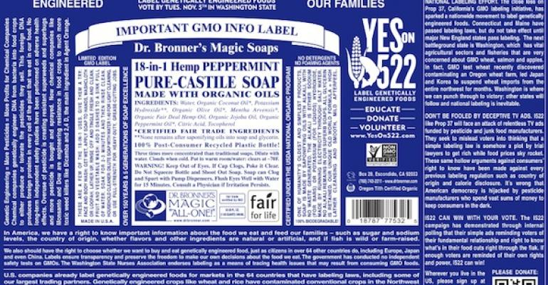 Dr. Bronner's 'labels' GMO labeling
