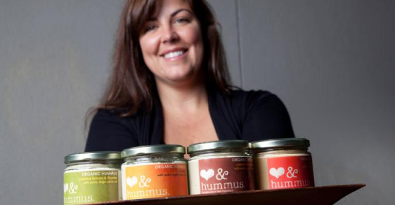 Locally made hummus with heart