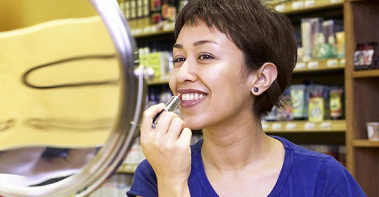 How can a health food store create a thriving beauty section?