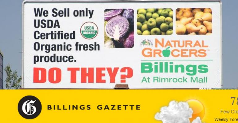 Natural Grocers' billboard questions competing grocery store