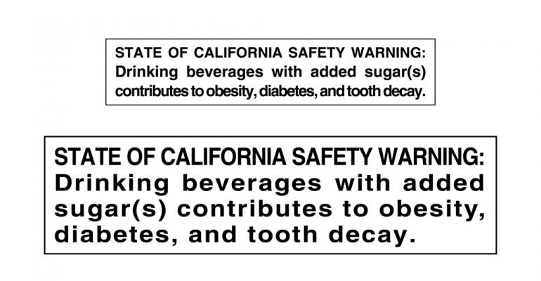 California legislator proposes warning labels on sugary drinks