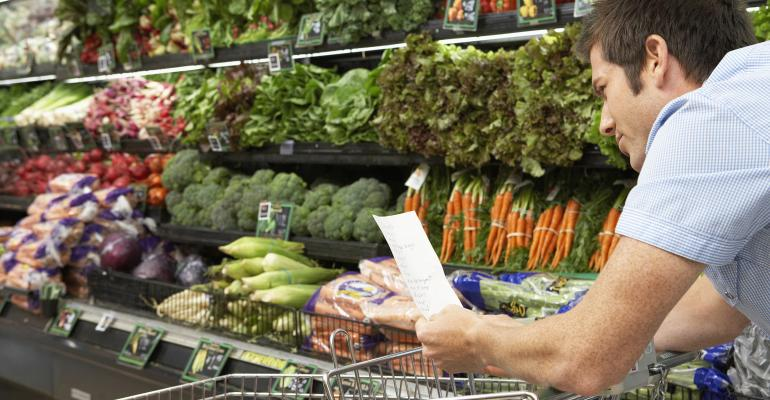 man shopping vegetables
