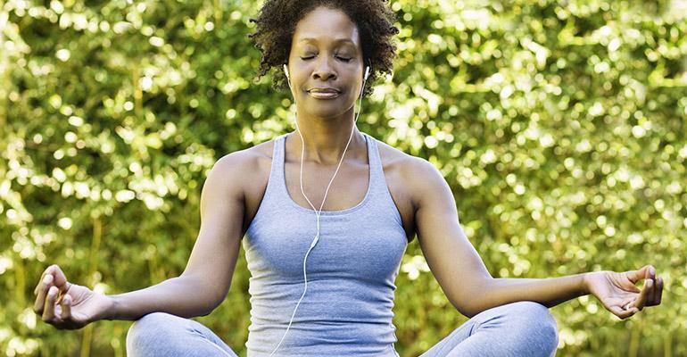 woman seated meditation