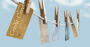Credit cards on a clothesline
