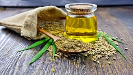 Hemp seeds and oil image