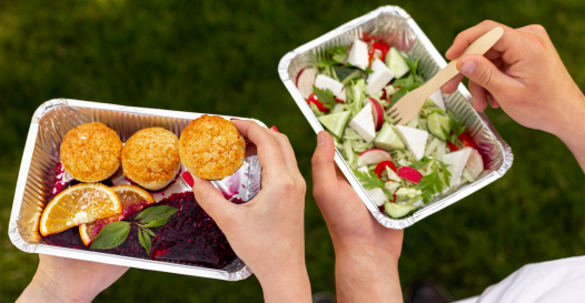 Plant-based food in containers