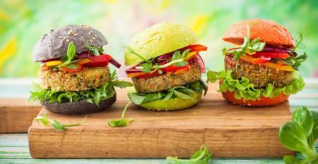 colorful veggie burgers