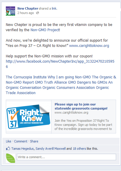 New Chapter's Facebook post on Prop 37